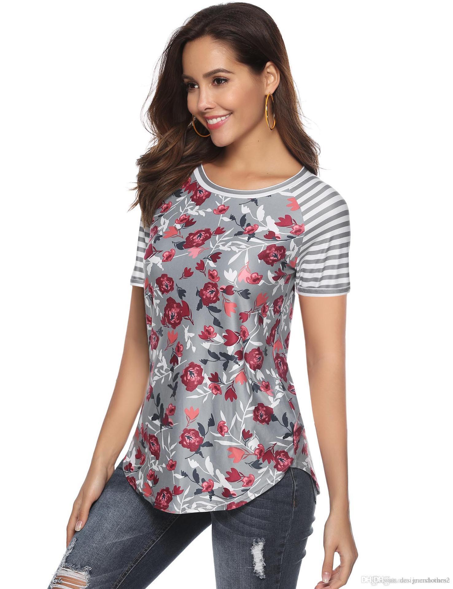 Цветочная Printed Футболка женской одежда лето девушки Crew Neck Щитовой с коротким рукавом Летней рубашки конструктора