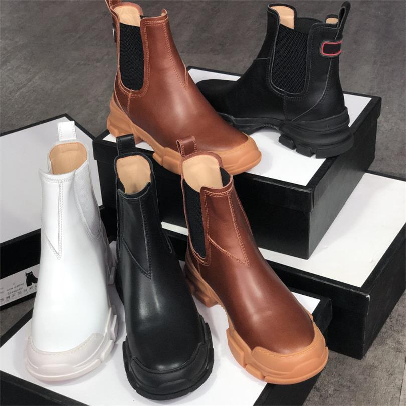 Hombres Mujeres Martin botas de cuero Negro Blanco bota del tobillo Moda gruesos de goma 100% zapatos de cuero real Lug Sole invierno botines Tamaño EU42