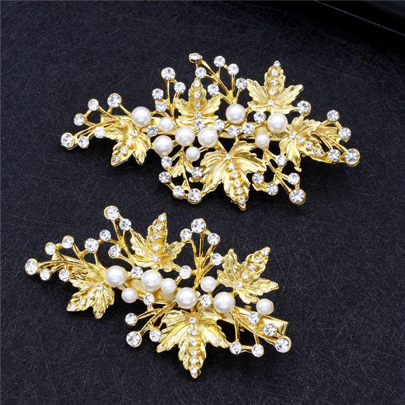 2pc Rhinestone Bridal Hair Clips Wedding Dress Hair Accessories Clip Hair Pins for Women Pearl Jewelry Bride Headdress Ornaments