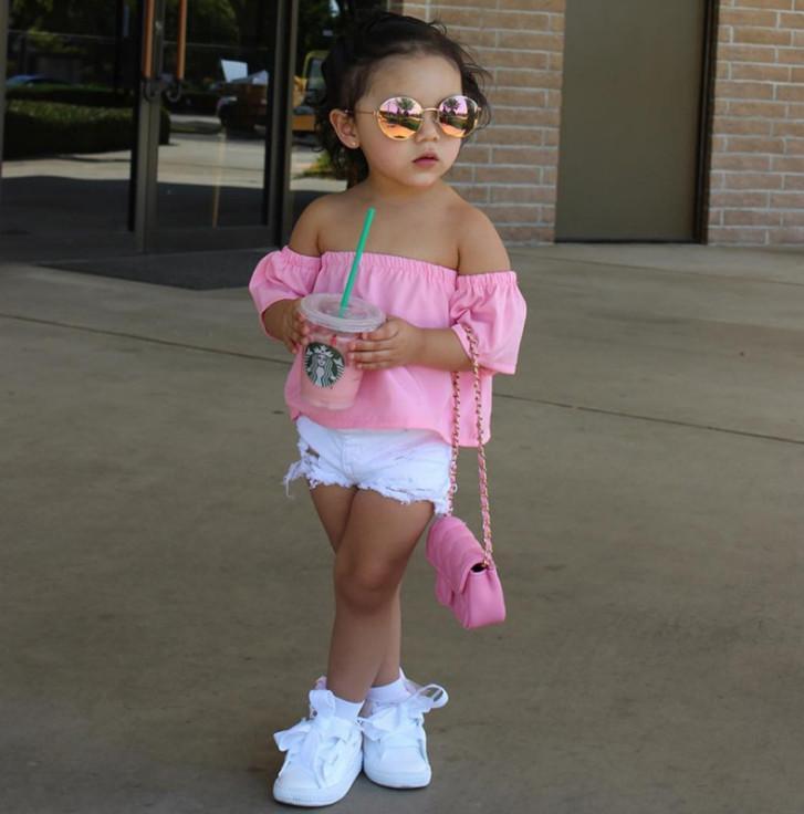 Ins Baby Mädchen Sommer Sets Kinder Falbala Fly Sleeve Dew Schulter Bluse Tops + Loch Denim Shorts 2 stücke Kinder Kurze Jeans Outfits A31