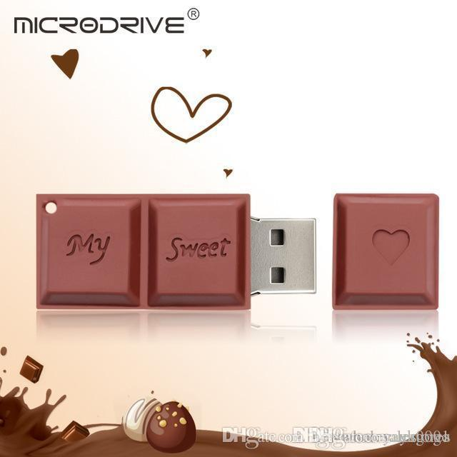 Venta al por mayor de Reino Unido Chocolate Lovely USB Flash Drive Silicone Pendrive USB2.0 64GB 32GB 16GB 8GB 4GB Pen Drive Flash Drive Gift USB Stick