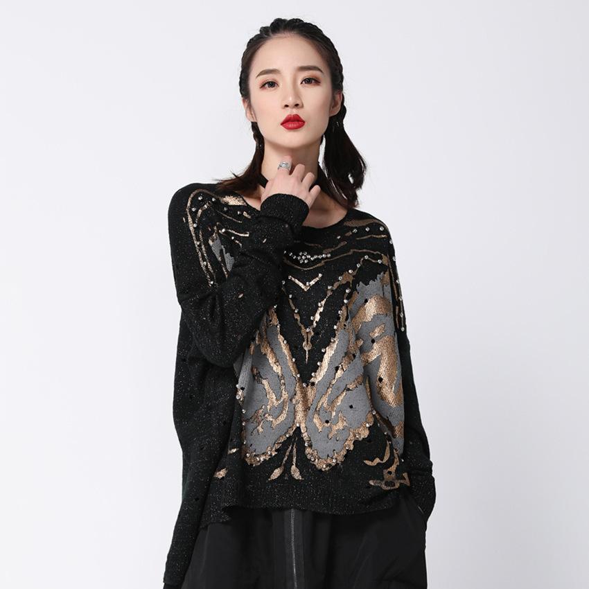 2019 Nouveau Printemps Noir Patchwork Lâche Pleine Manches O Col Pull Femmes Mode Marée Perles Chandail Oa872