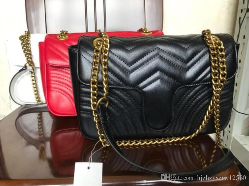 Nueva moda de cuero clásico de la PU Marmont cadena de oro negro de la venta caliente mujeres empaquetan los bolsos Los bolsos de hombro del diseñador de las señoras de cuero # 287300