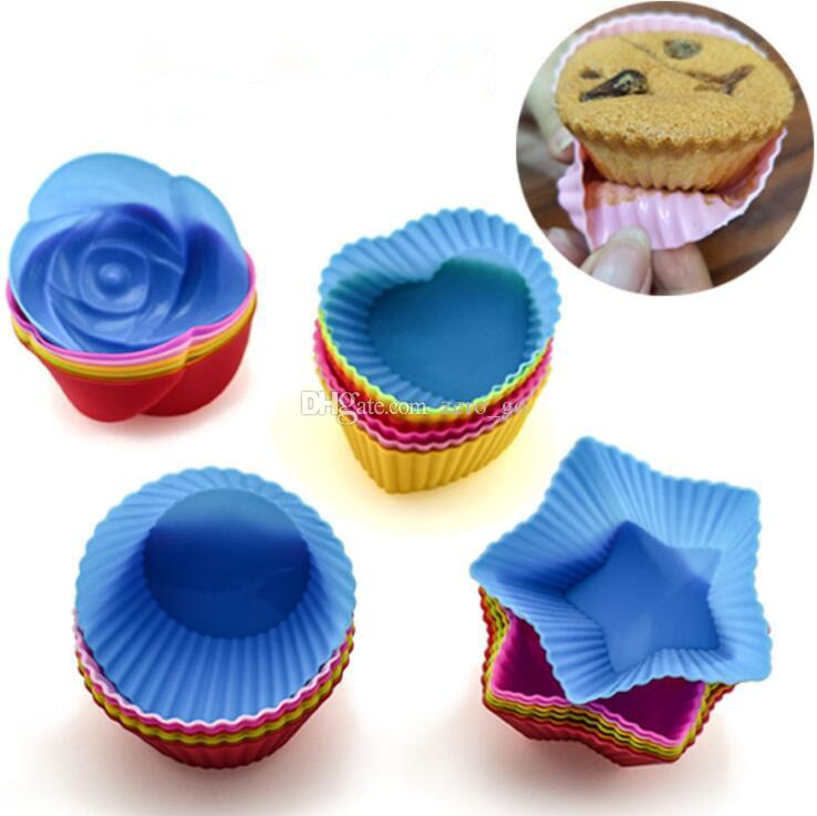 Silicone Cupcake Cup Silicone Cake Mold Heart Star Flower Round Shape Reusable Baking Cake Muffin Cup Mold Nonstick Soap Mold