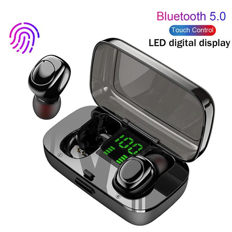 Nouvellement Bluetooth 5.0 Ecouteur TWS sans fil intra-auriculaires stéréo LED casque Display Power Gaming Sport Earbuds étanche Casque Touch Control