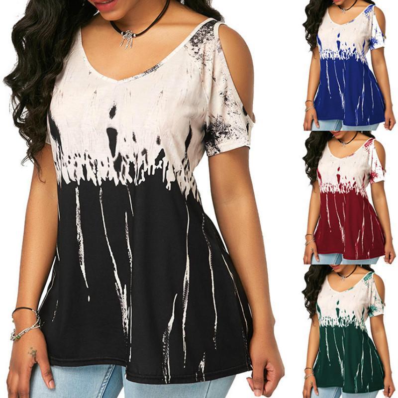 Women Casual T-shirt ragazze Tie-dye di modo di stampa supera i T di marca delle donne senza spalline allentato manica corta T Shirt 2020 Nuovo caldo di vendita