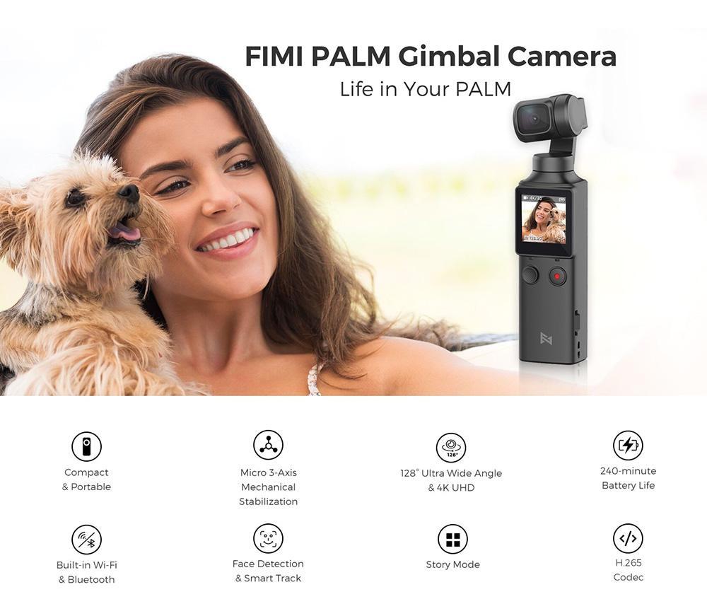 Caméra FIMI Palm Gimbal, caméra Xiaomi, soutenu Microphone intégré et MIC externe, connexion wifi bluetooth, support d'extension