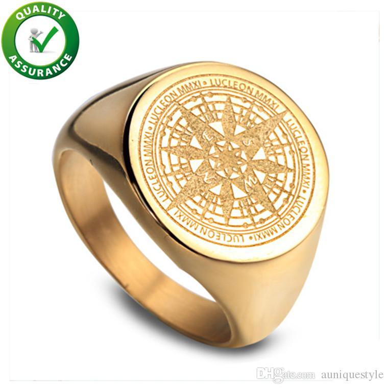 Anéis de Jóias dos homens Hip Hop Anel de Luxo Designer de Homens Anel de Noivado de Ouro Anéis de Campeonato de Noivado Do Vintage Bússola Rapper Acessórios de Moda