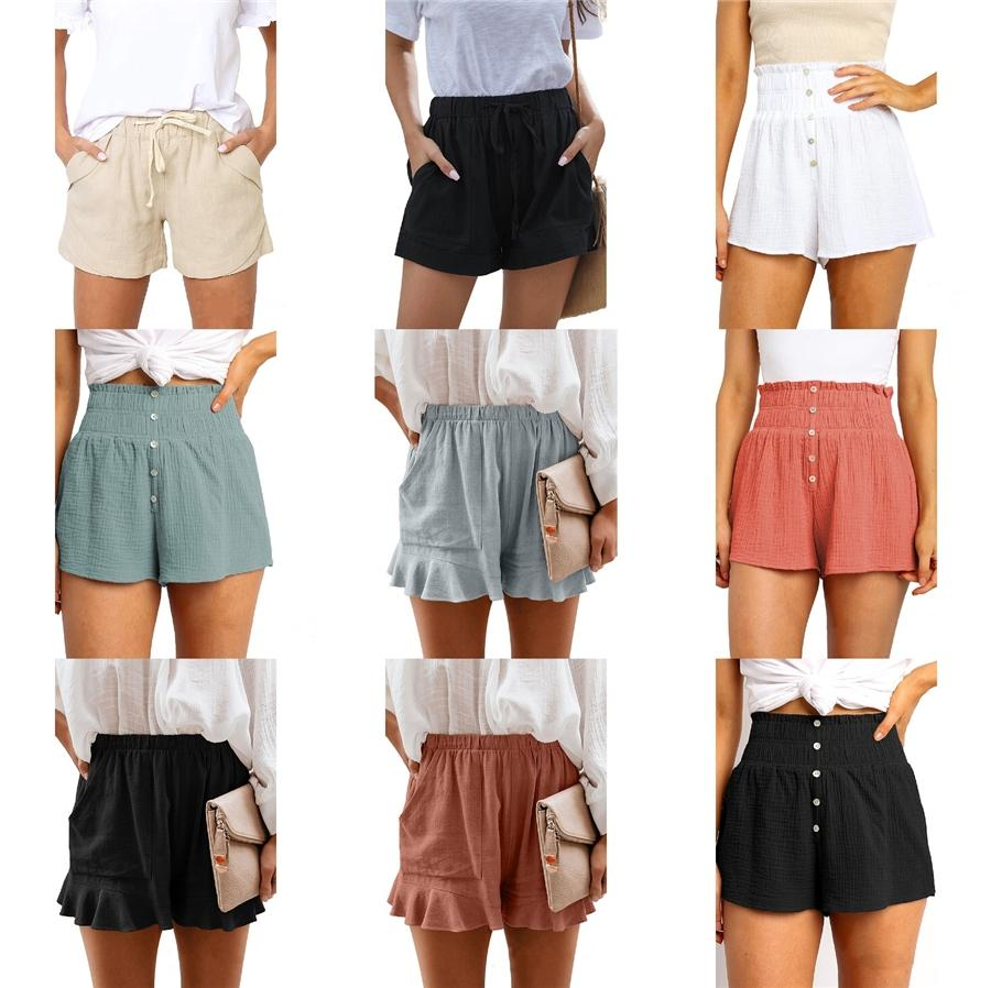 Mujer Pantalones cortos de verano Nueva pantalones casuales pantalones cortos para mujer de moda de estilo de playa con 5 colores tamaño asiático # 865