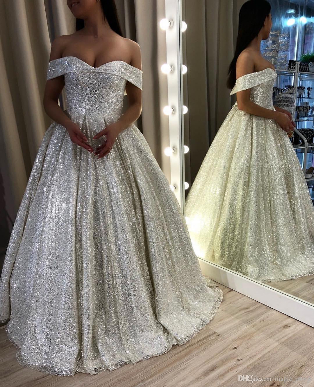 Sexy 2019 New Bling Bling Vestidos de Casamento Do Laço Applique Pregas Fora Do Ombro Até O Chão Vestido de Noiva Vestidos de Noiva Vestidos De Novia