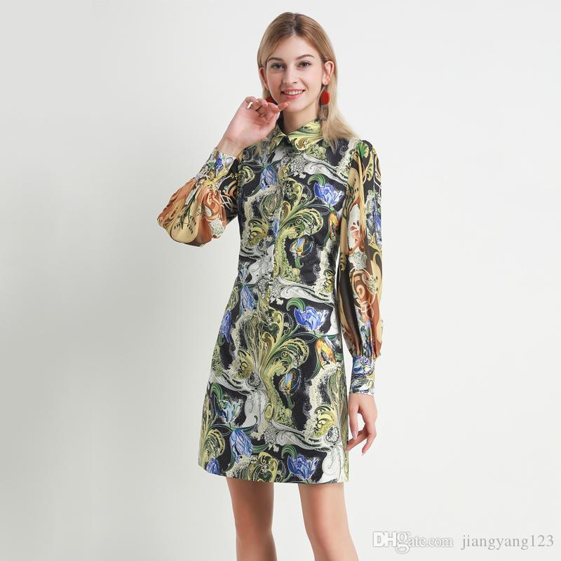 Европейские и американские моды нижней юбки 2020 весной платья ретро абстрактного Yun Hua нагрудные с длинными рукавами рыхлых облегающими платьев