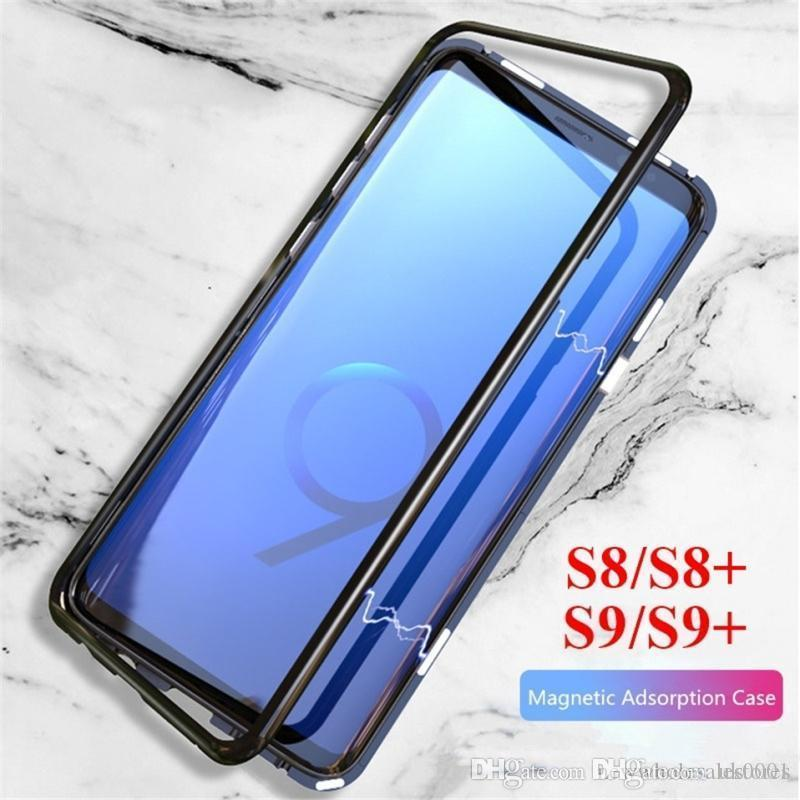 UK Magnetic Adsorption Flip Case for Samsung Galaxy S9 S10 Plus Note9 8 S10e Tempered Glass Back Metal Bumper Case for iphone XSmax XR X