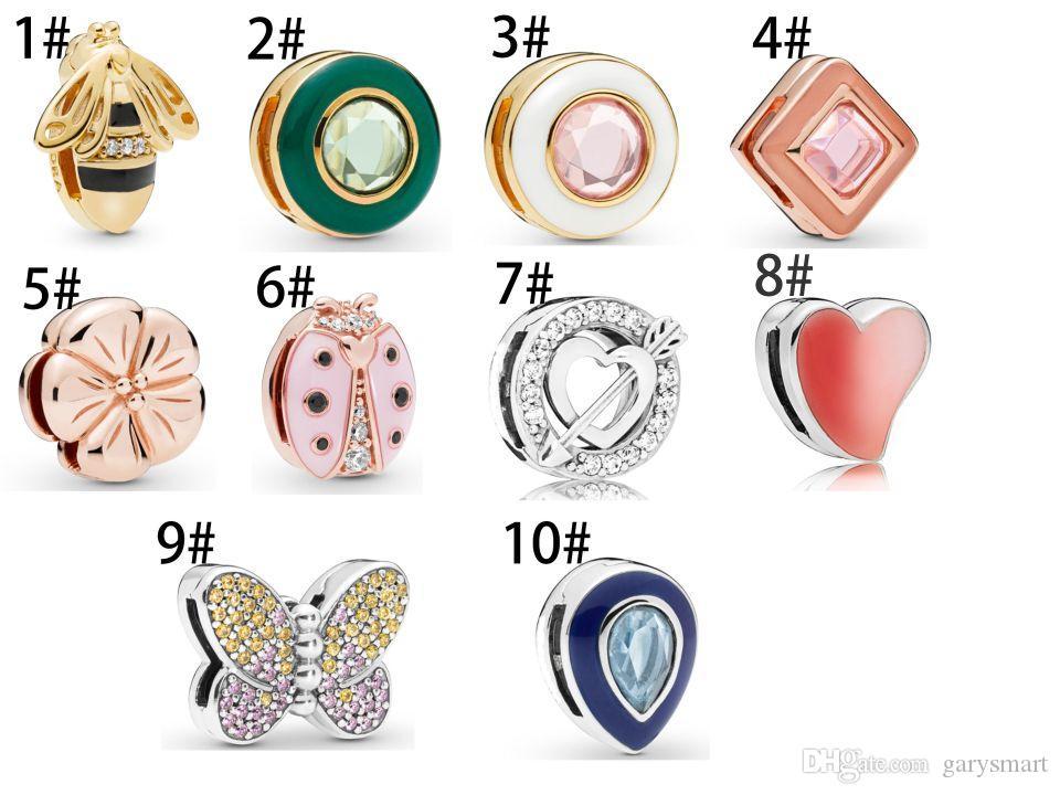 أصيلة 925 فضة الخرز الوردي اللباس diy سحر يناسب الأوروبي باندورا نمط مجوهرات أساور سحر صنع المجوهرات
