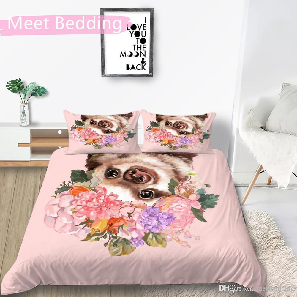 المودرن الموضة السرير مجموعة التوأم كامل الملكة حجم 2 / 3pcs غطاء السرير مجموعة لينة فائقة مع الحيوانات الملونة المناظر من غطاء لحاف