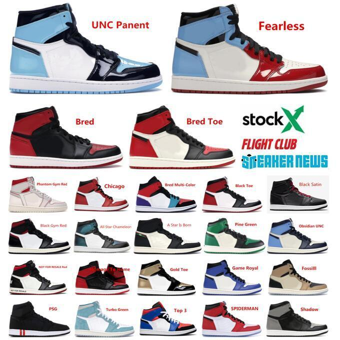 Hot 1 1s Jumpman Mens basketball shoes High OG banned shadow white black toe Chicago royal Men 1 basketball sneakrs With Box