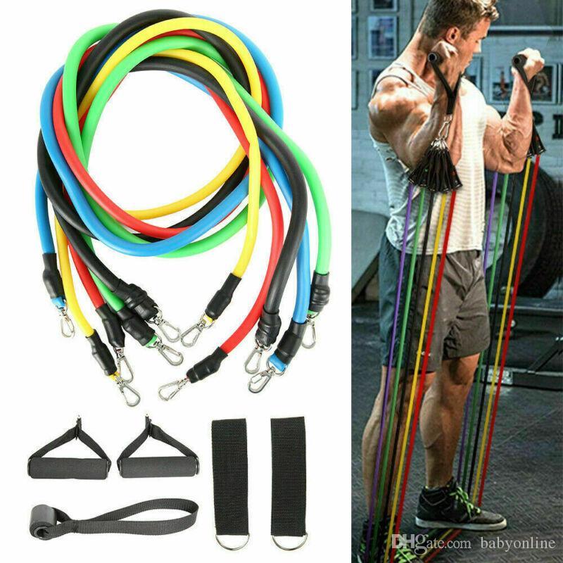 Atacado Resistência Bandas Yoga Pilates Crossfit Fitness Equipment Elastic Tração da corda Workout Latex Tubo FY7007 Banda Set Training Exercise