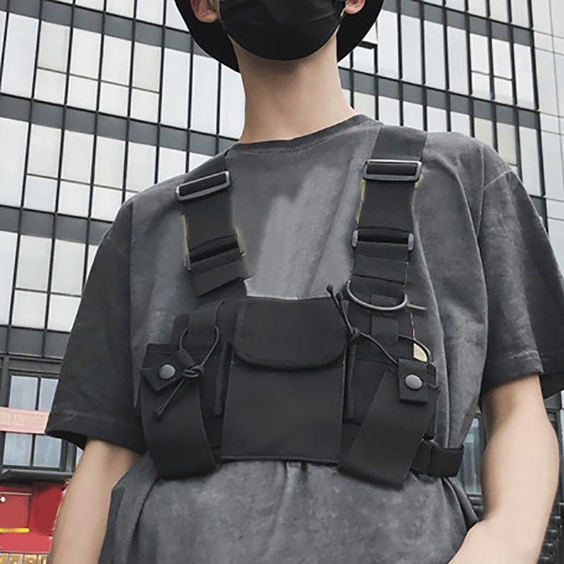 Men's Breastplate Hip Hop Streetwear Unisex Streetwear Feature Pack Tactical Chest Bag Cross Backpack