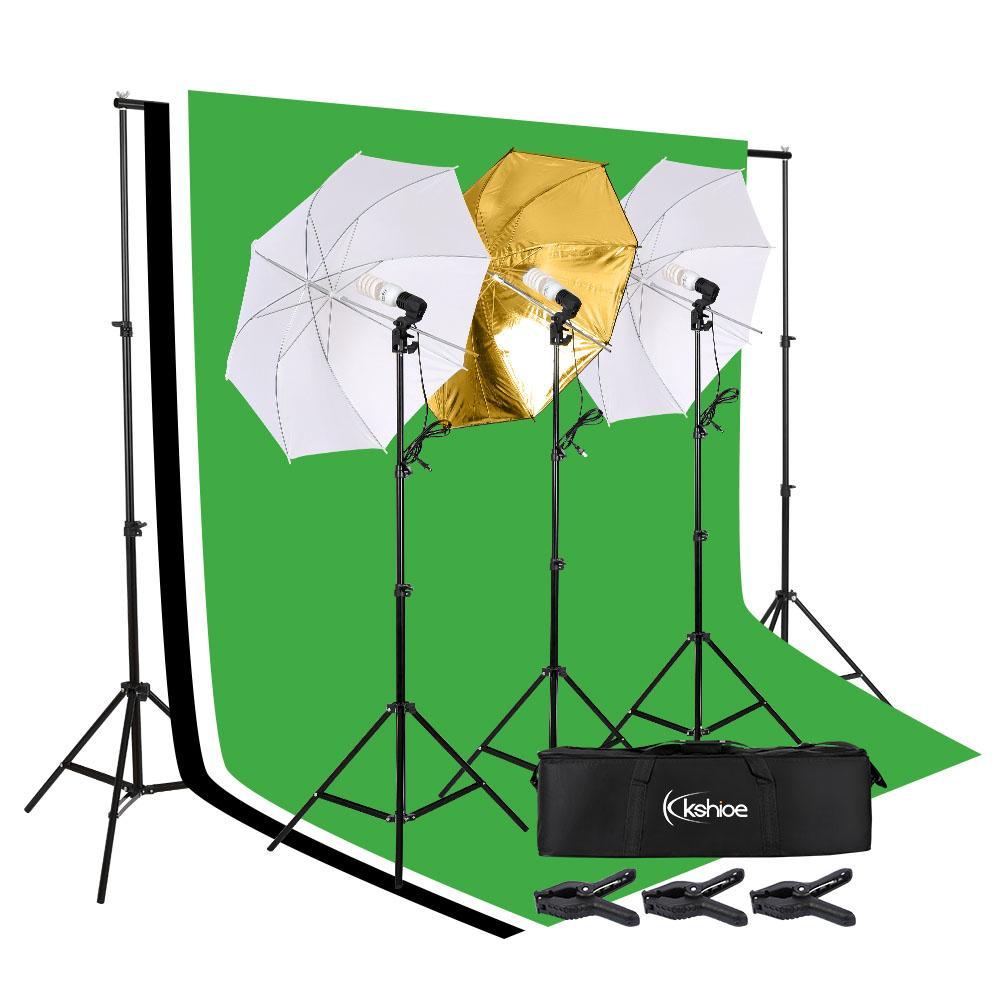 45W Фотография Фотография Зонт освещение Kit Студия Лампочка Муслин Фон Стенд Профессиональная фотография Soft Light Background Set