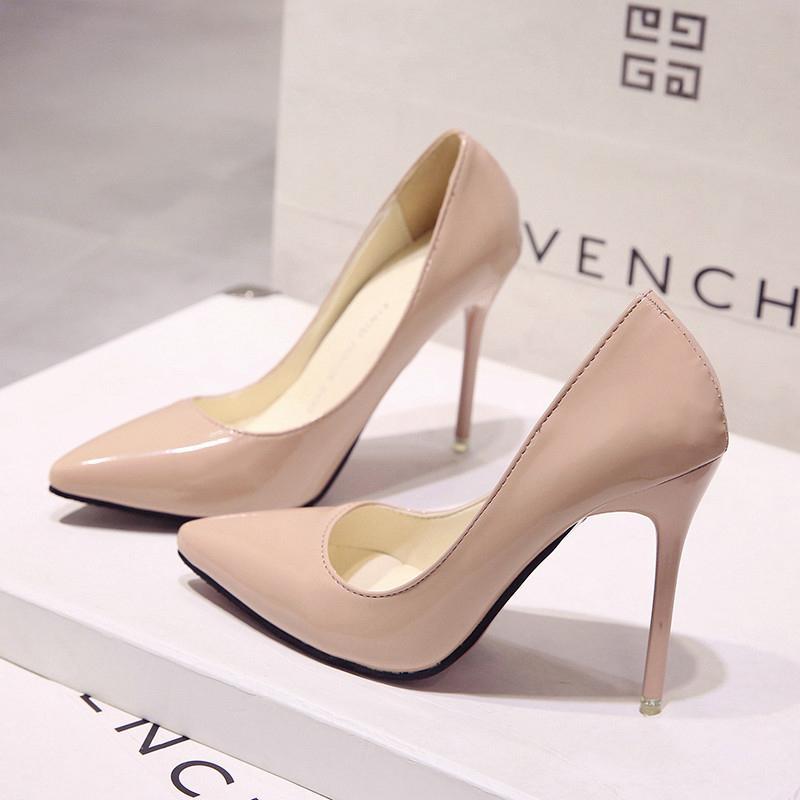 Sıcak Kadınlar Ayakkabı Sivri Burun Pompaları Patent Deri Elbise Yüksek Topuklu Tekne Ayakkabı Düğün Mavi Şarap Kırmızı
