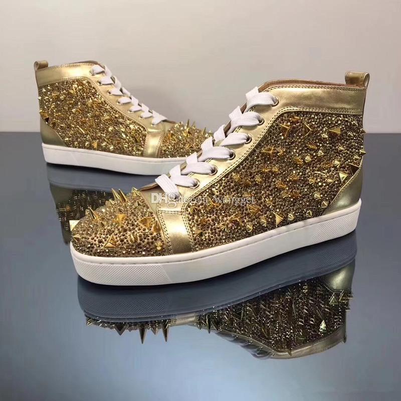 Alta Qualidade de Ouro de couro + ouro Mix Spikes vermelha altamente superior inferior Sneakers para as Mulheres, homens famosos Casual Walking Partido Trainers Com Box