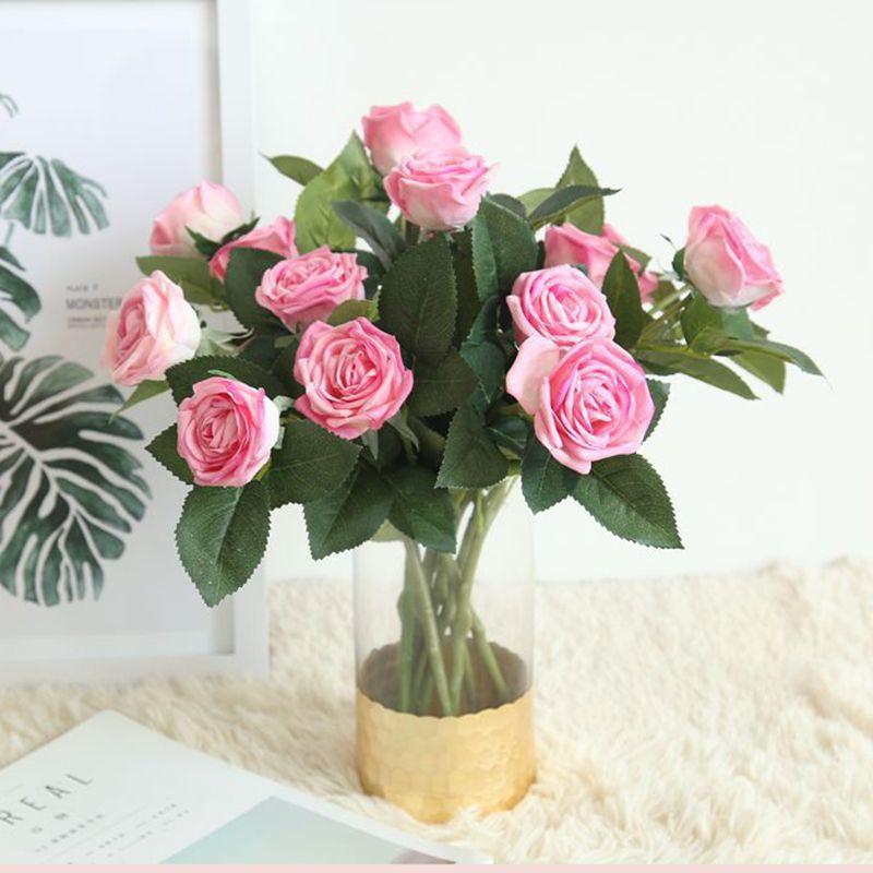 Flores 1pc real toque de Rose Flor Artificial 5 cores rosa vitoriana Silk folha Latex flores para decoração de festa de casamento Início