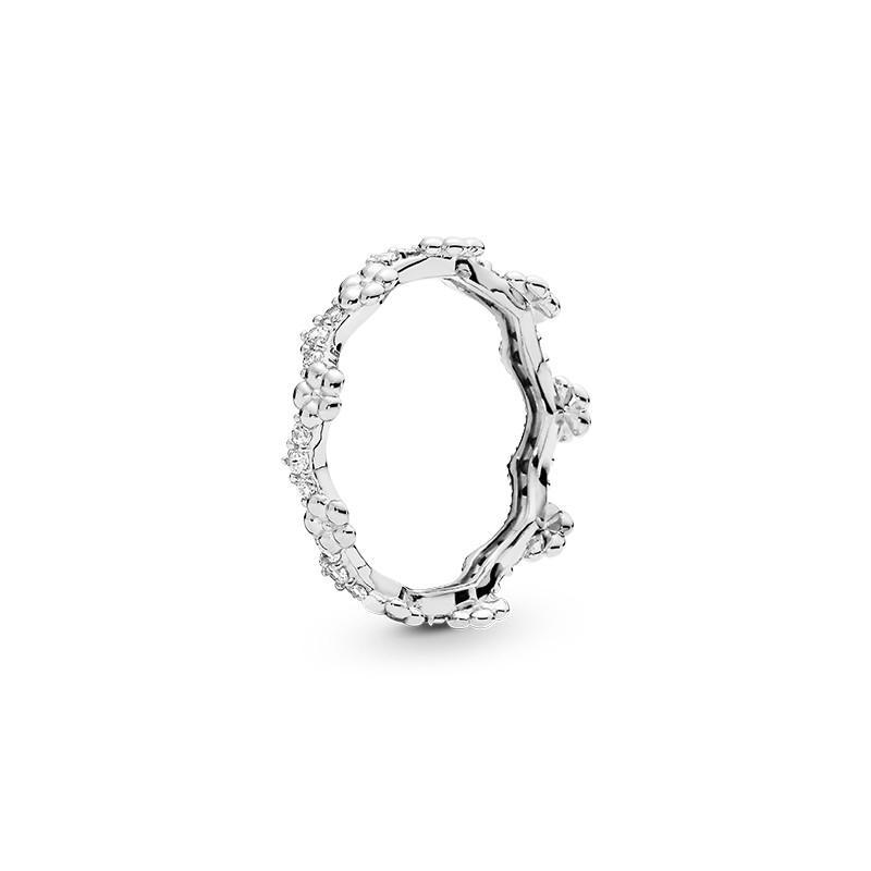 925 Gümüş Kadınlar erkekler Düğün Hediye CZ Elmas Yüzük Setleri Pandora NEW Çiçek Taç HALKASI Orijinal Kutusu