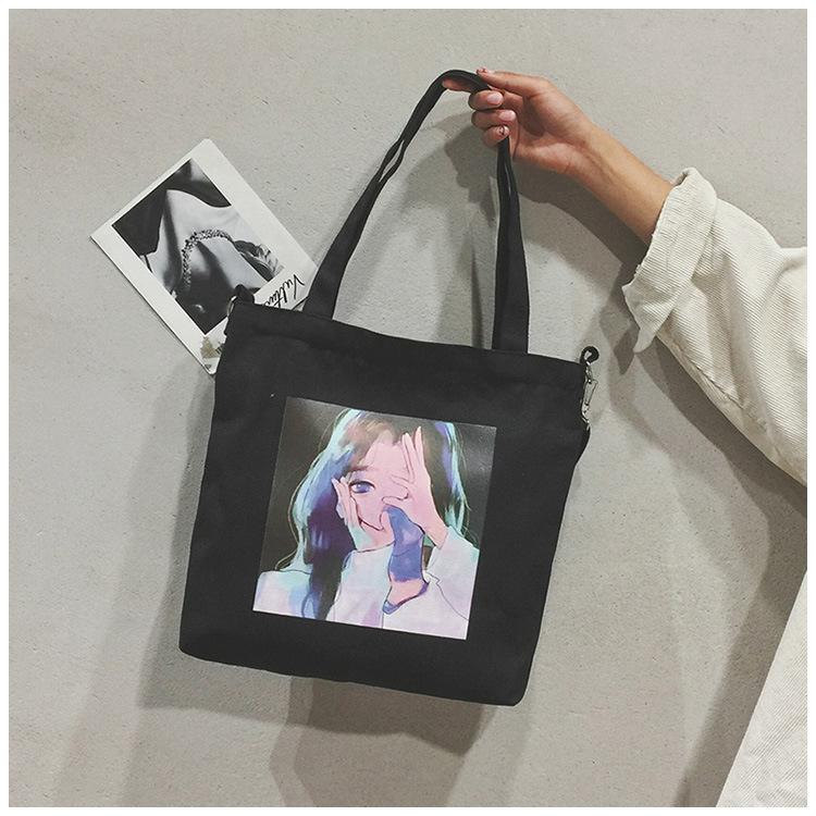 Overseas2019 Fresh Small Woman Package Literature Canvas Printing Girl Will Capacity Student Single Shoulder Span Bag