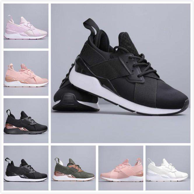 2020 new womens PUMA Muse Satin Running Shoes women designer pink black white brown Cross bandage Lady Trainers womens Sneakers