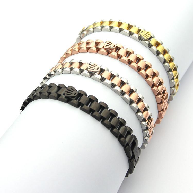 Мода Серебро Золото Нержавеющая сталь Корона звено цепи браслет для подарков Fit Часы ювелирных изделий партии Женщины Мужчины подарок
