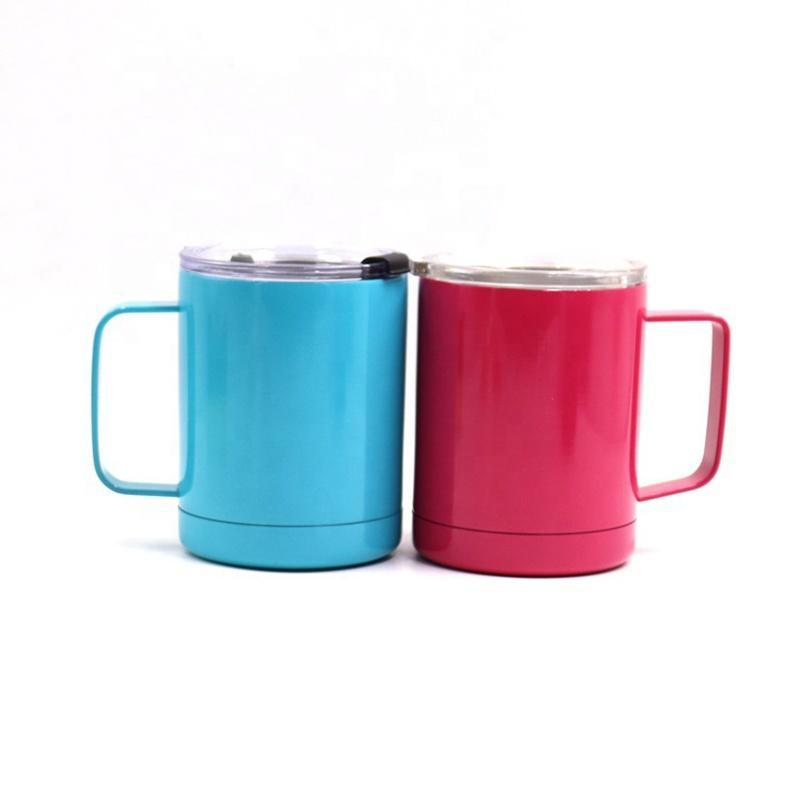Двойная стена 10 унций широкий рот вакуумная изоляция вино кофе путешествия стакан с ручкой и крышкой логотип подгонять