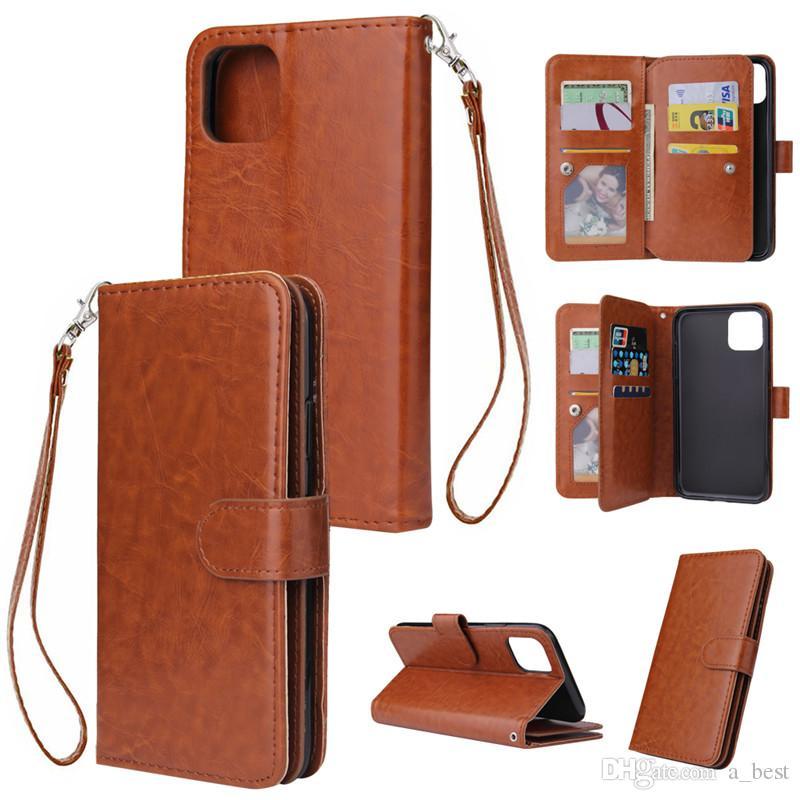 Carteira Capa de Couro Telefone para iPhone 11 Pro Max XS Xr X 8 Plus Retro suporte flip tampa do cartão Titular slot Photo Frame