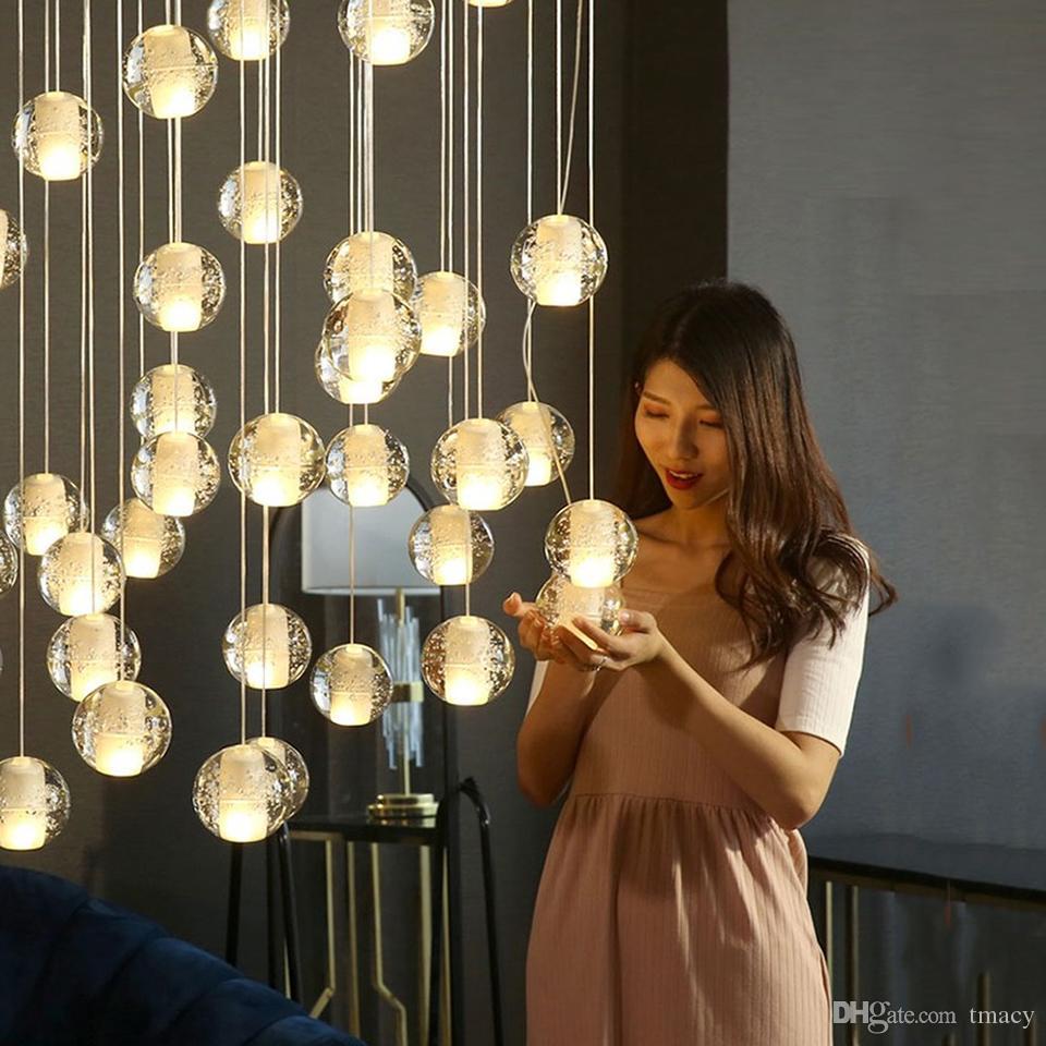 Lampadari Con Bottiglie Di Vetro acquista moderna ha condotto le lampade grande cristallo lampadario scala  appeso lucentezza cristal palline di vetro lungo soppalco lampadario  lampada