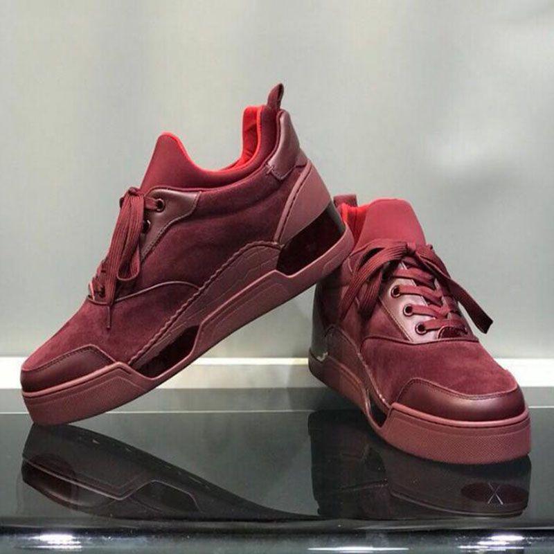 Kırmızı Alt Erkekler Sneakers Aurelien Düz Aşıklar Gerçek Deri Yüksek En Popüler Basit Flats Kırmızı Dip Ayakkabı Boyutu: 35-46 BG1