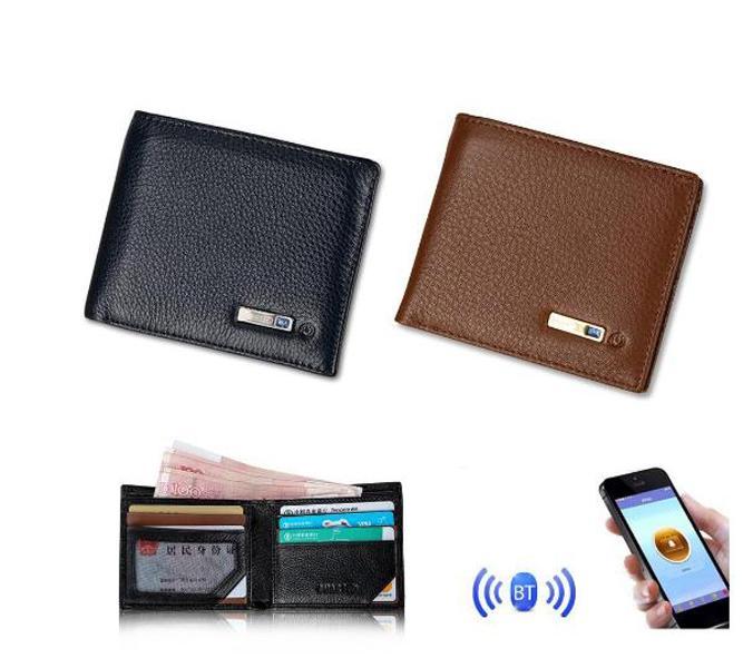 Los titulares de tarjetas Hombre Hombre carpeta del cuero genuino antirrobo localizador GPS Monedero perdido anti inteligente Bluetooth monedero Rastreador