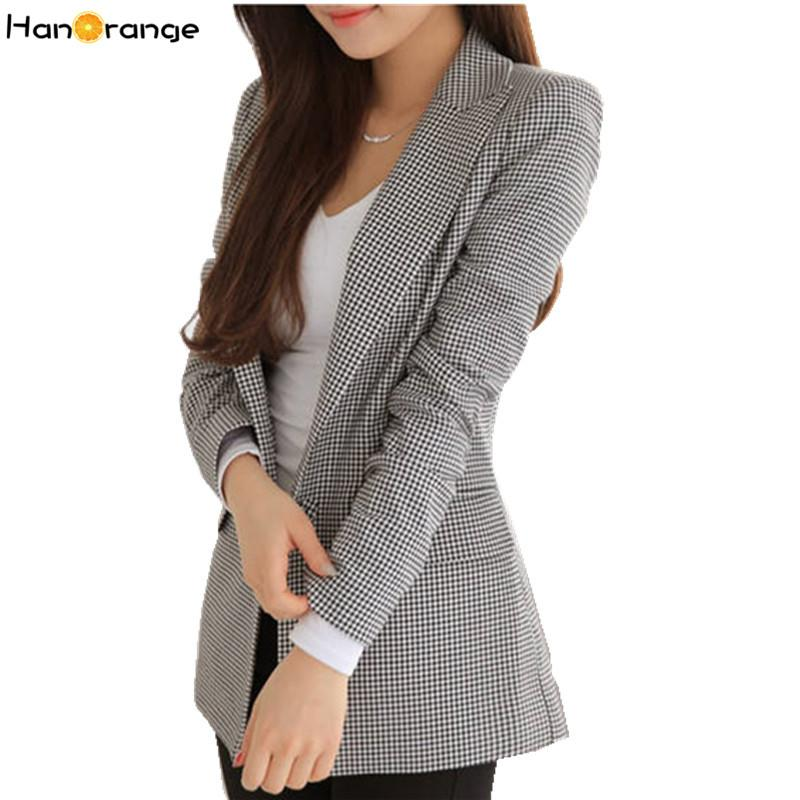 HanOrange 2019 Nouveau Printemps Automne Mince Pied De Poule À Carreaux Long Blazer pour Femme Veste Noir Blanc Veste XXXL Plus La Taille Y190830