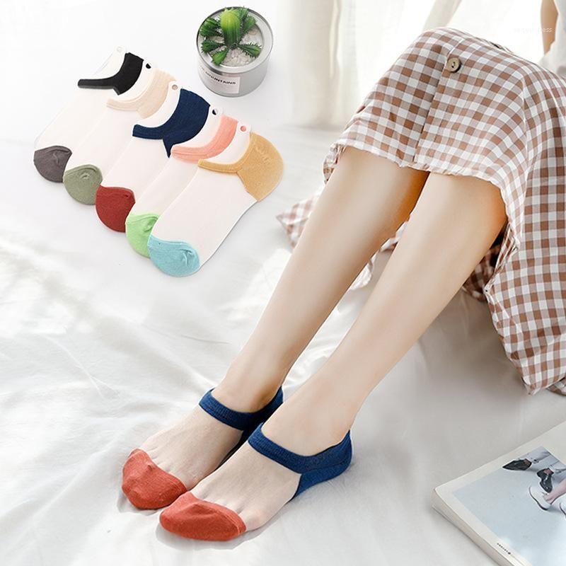 Estate delle donne Calzini Patchwork floreali solido di colore traspirante Womens comodi intima Estate Designer Womens Socks