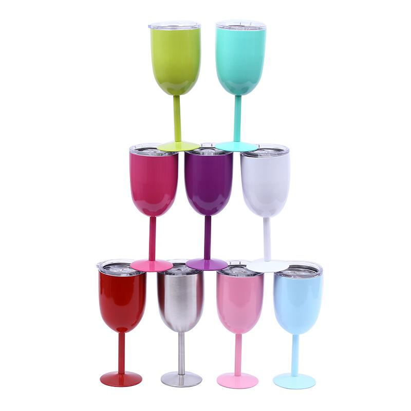 10oz Red Wine Glass Cups Stainless Steel Wine Glasses Stemware Insulated Metal Goblet With Lid Cup Durable Drinkware Car Cups 10 Colors