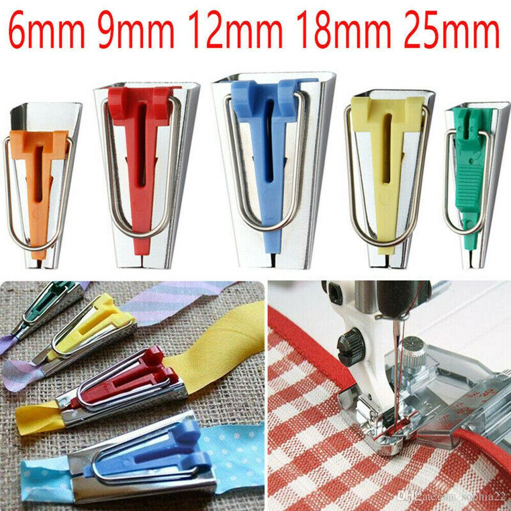 5 Size Set Bias Tape Fabric Maker Kit 6mm 9mm 12mm 18mm 25mm for Sewing Quilting Awl and Binder Foot Case Tool