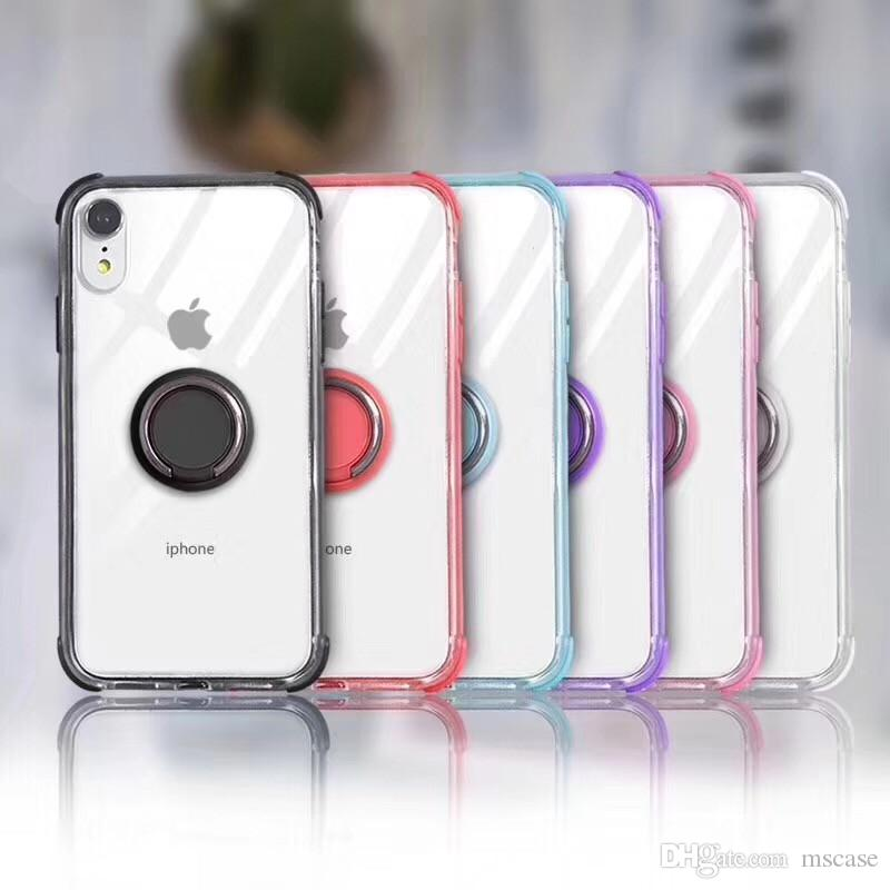 2 farben transparent klar case für iphone 6 7 8 plus xs max xr 4 corners stoßfest tpu abdeckung case mit ring halter stehen magnetisch