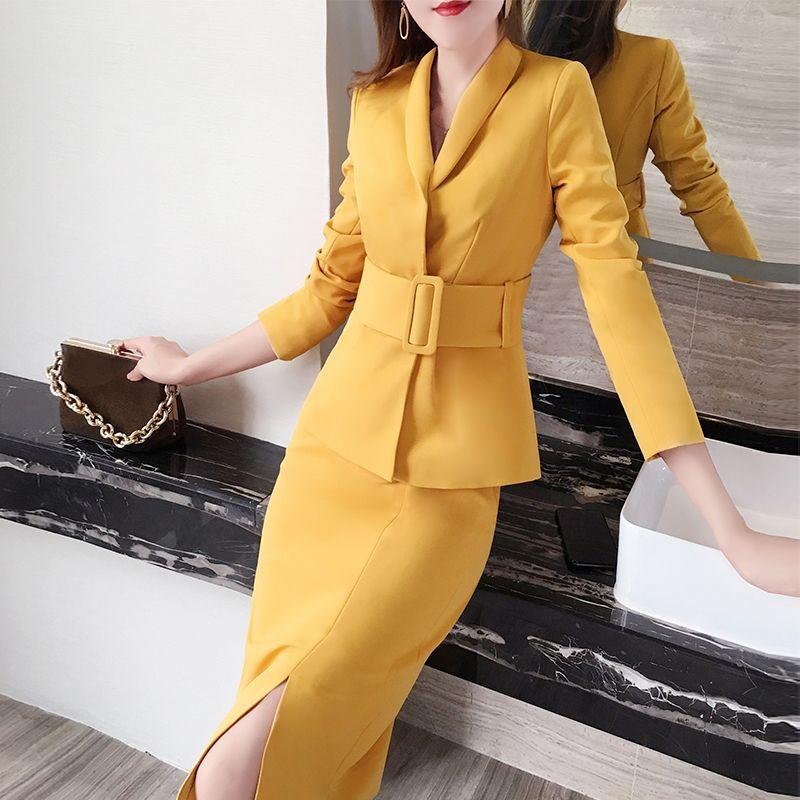 2019 Rojo Delgado Otoño Invierno Nueva Corea Blazer de negocios 2 + falda de dos piezas de las mujeres de la chaqueta de la oficina de señora Pantalones Trajes muescas