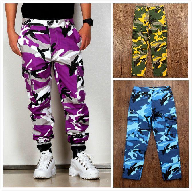 Calças cor Camo BDU Camouflage Carga 2019 Homens Mulheres Casual Streetwear Pockets Jogger Laranja Tactical Sweatpants Hip Hop calças T200113