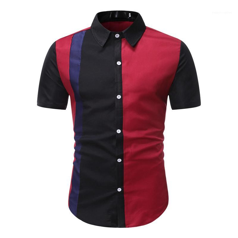 Patchwork camisa multicolor solo pecho Manga corta cuello de solapa masculina camisa de la ropa casual para hombre de manga corta