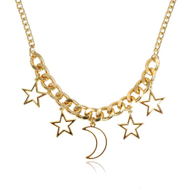 Elegante catena del maglione del pendente della luna della stella lega 2020 della collana delle donne in Europa e in America popolare di modo di vendita diretta