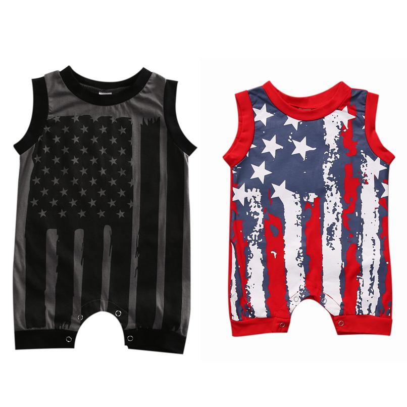 0-24Months infantil American Flag Baby Boy impressa macacãozinho mangas Roupa