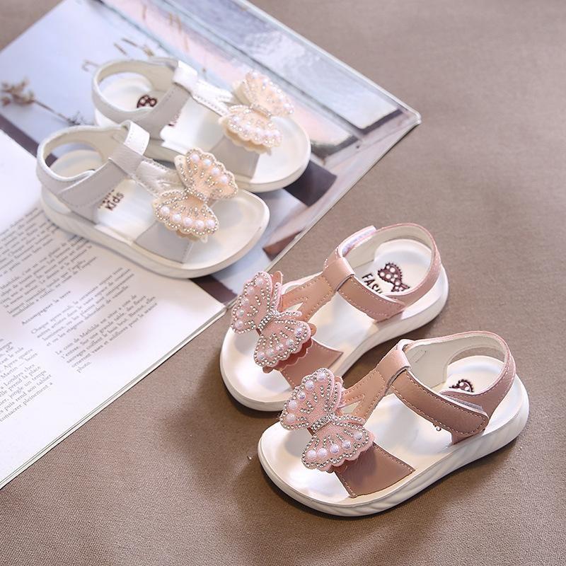 Девушки Сандалии летние Cute Лук Pearl платье сандалии 2020 Новый стиль пляжная обувь для малышей Девочки Дети Flat римском обувь Размер 21-30