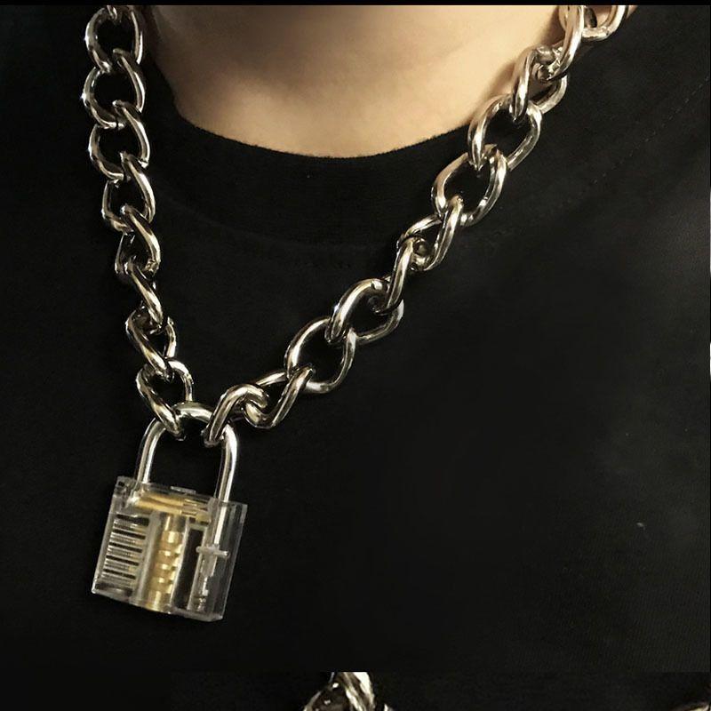 Erkekler Kadınlar Unisex Metal Zincir Gerdanlık Kolye Mekanik Steampunk Şeffaf şeffaf Kare Kilit Ve Anahtar Gerdanlık Yaka T190620