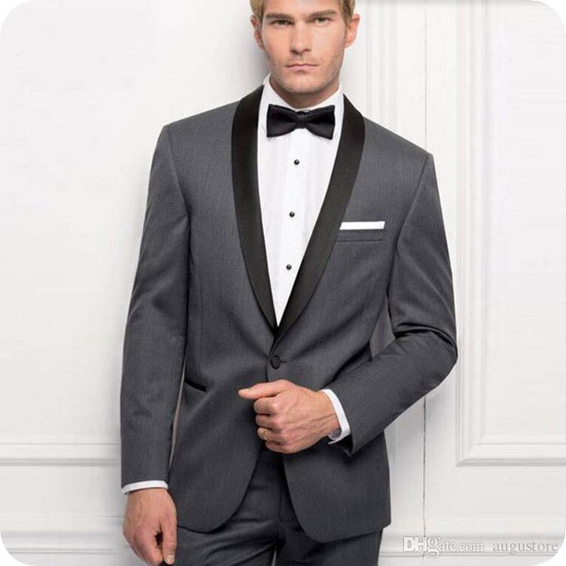 Schal-Revers-Designs Grau Bräutigam Smoking Classic Herren-Anzüge für Hochzeit 2Piece (Mantel + Pants) Formal Kostüm Homme Terno Masculino Trajes de hombre