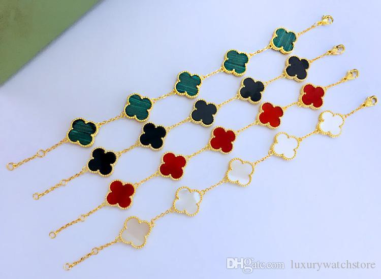 trèfle vert à quatre feuilles agate bracelet bracelet amour en acier de titane avec une fleur dans la pierre et des diamants pour les femmes et les bijoux de bracelet homme