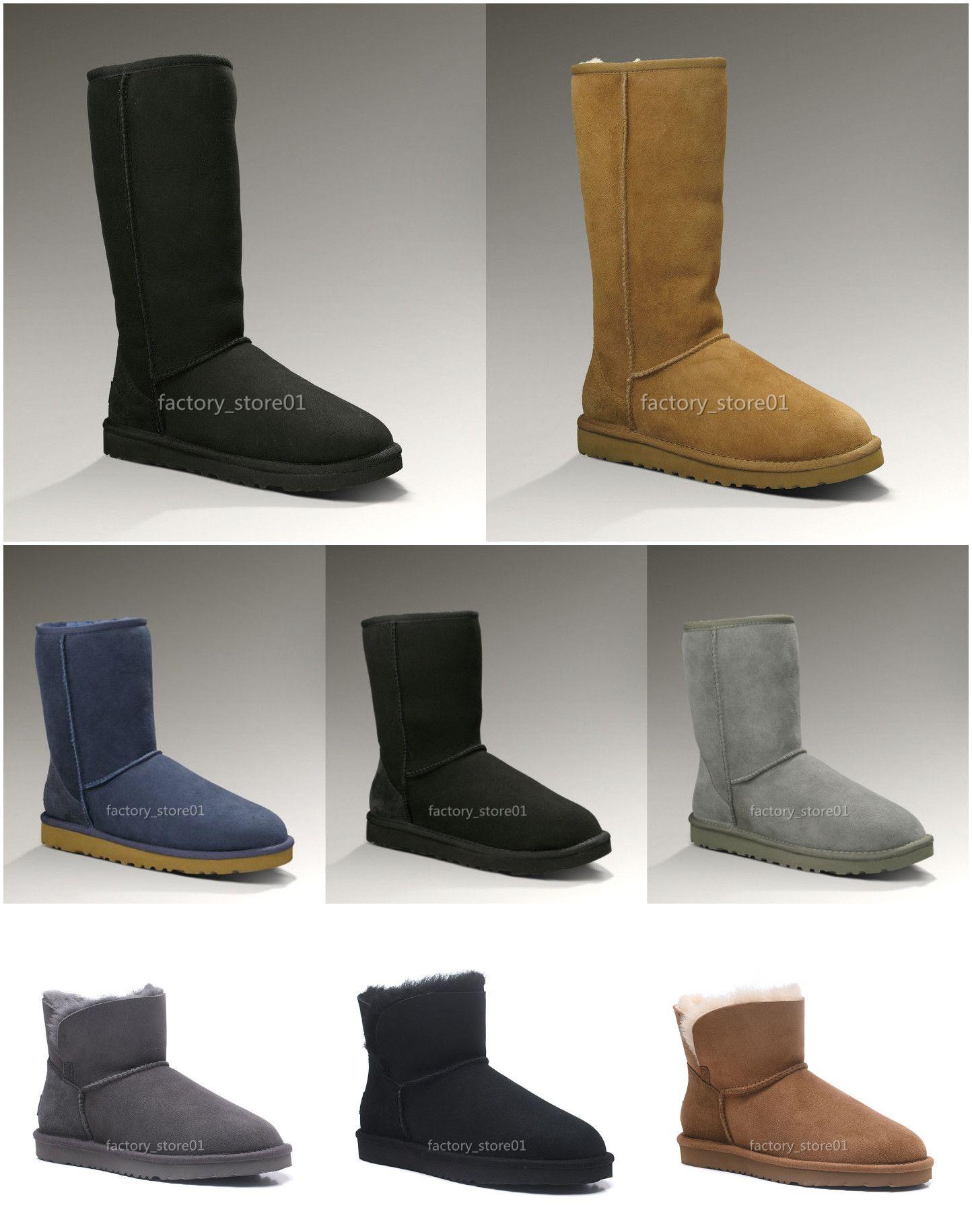2020 donne degli uomini classici di modo Snow Boots lungo della caviglia arco corto Fur Boots Designer per inverno nero Castagno Boot Scarpe casual piattaforma 35-45