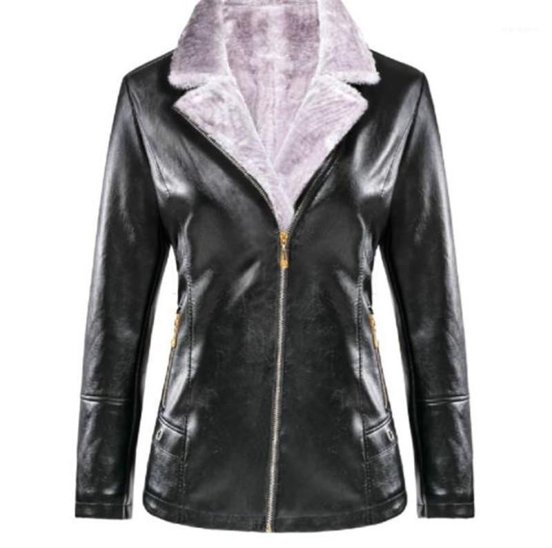 Designer Plus Size épais Veste luxe Femmes Toison Slim Femmes Manteaux Manteau PU